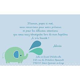 Carte de Remerciement Baptême Sacré Eléphant pas cher