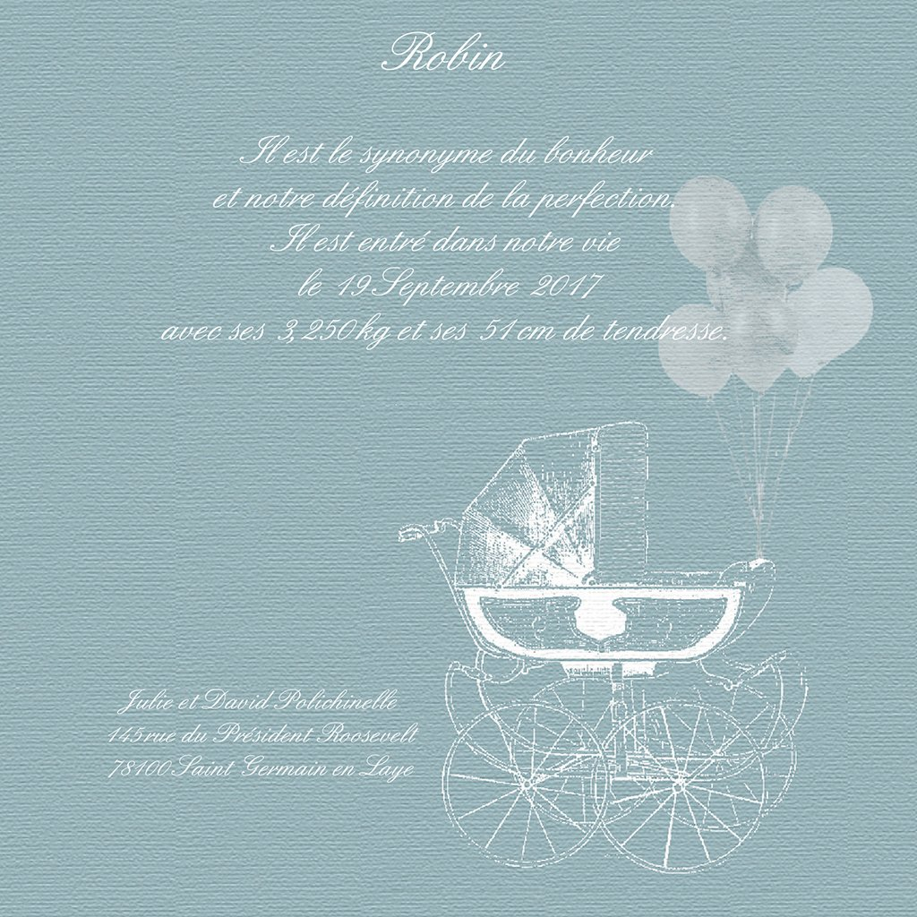 Faire-part de Naissance Petit Versailles Bleu pas cher