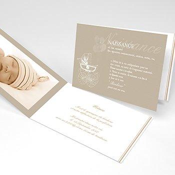 Faire-part de Naissance Petit Versailles beige personnalisé