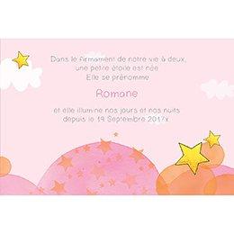 Faire-part de Naissance Petite Etoile rose