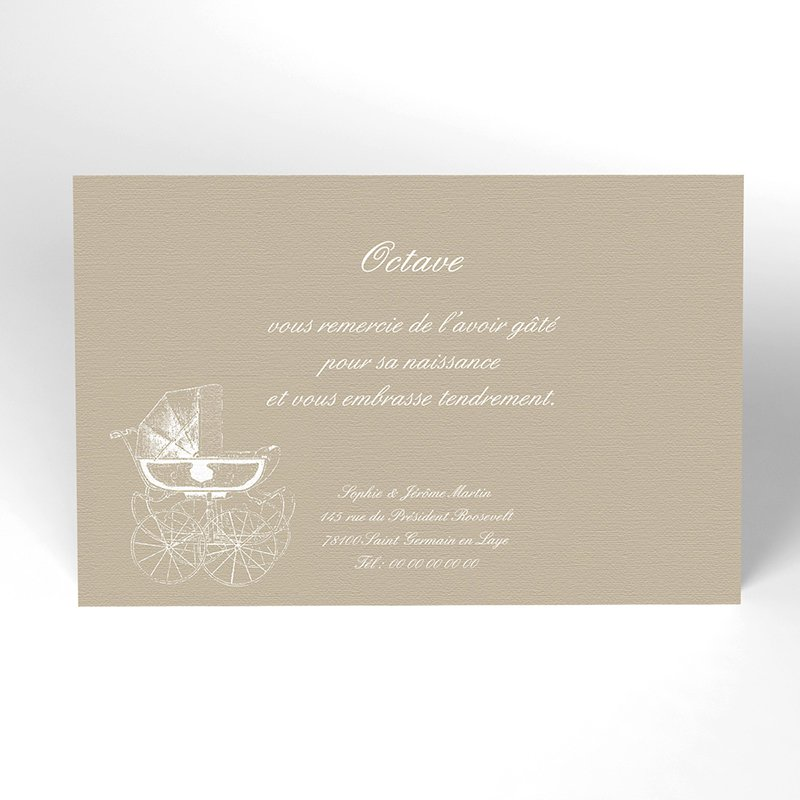 Carte de Remerciement Naissance Petit Versailles beige