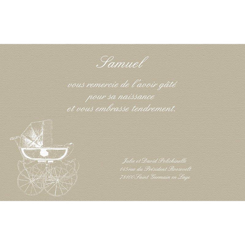 Carte de Remerciement Naissance Petit Versailles beige pas cher