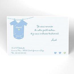 Carte de Remerciement Naissance Joli Body bleu