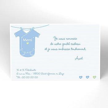 Carte de Remerciement Naissance Joli Body bleu pas cher