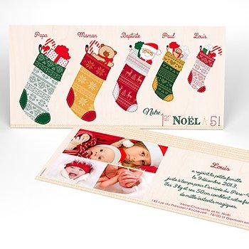 Faire-part de Naissance Chaussette de Noël original