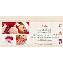 Faire-part de Naissance Chaussette de Noël gratuit