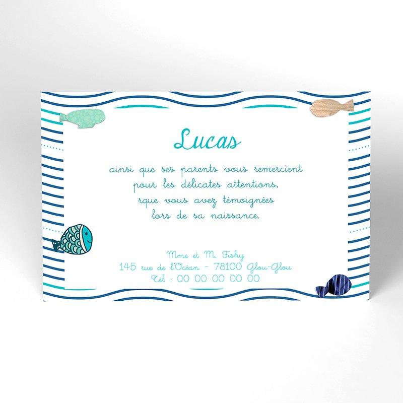 Carte de Remerciement Naissance Petits Poissons