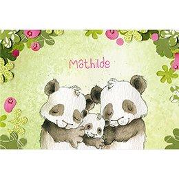 Faire-part de Naissance Famille Panda fille pas cher