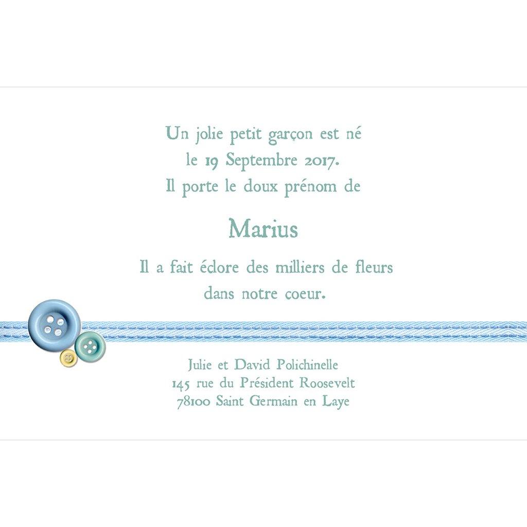 Faire-part de Naissance Accroche-Cœur sans photo gratuit
