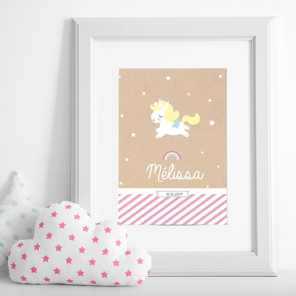 Affiche Déco Bébé Petite Licorne pas cher