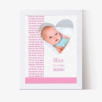 Affiche Déco Bébé Petits Coeurs
