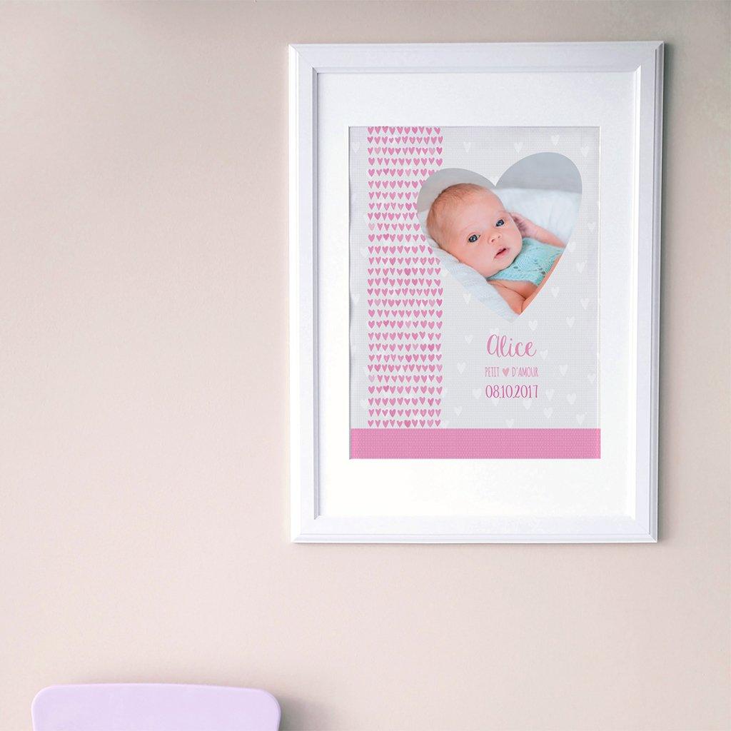 Affiche Déco Bébé Petits Coeurs pas cher