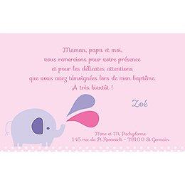 Carte de Remerciement Baptême Sacré Eléphant Fille pas cher