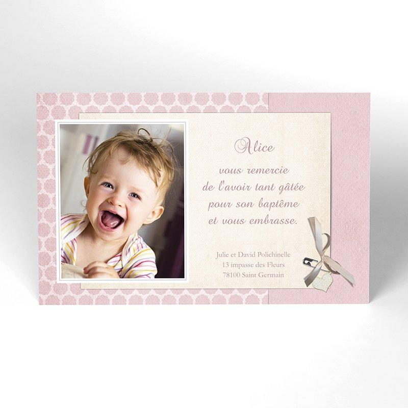 Carte de Remerciement Baptême Macaron Baptême rose
