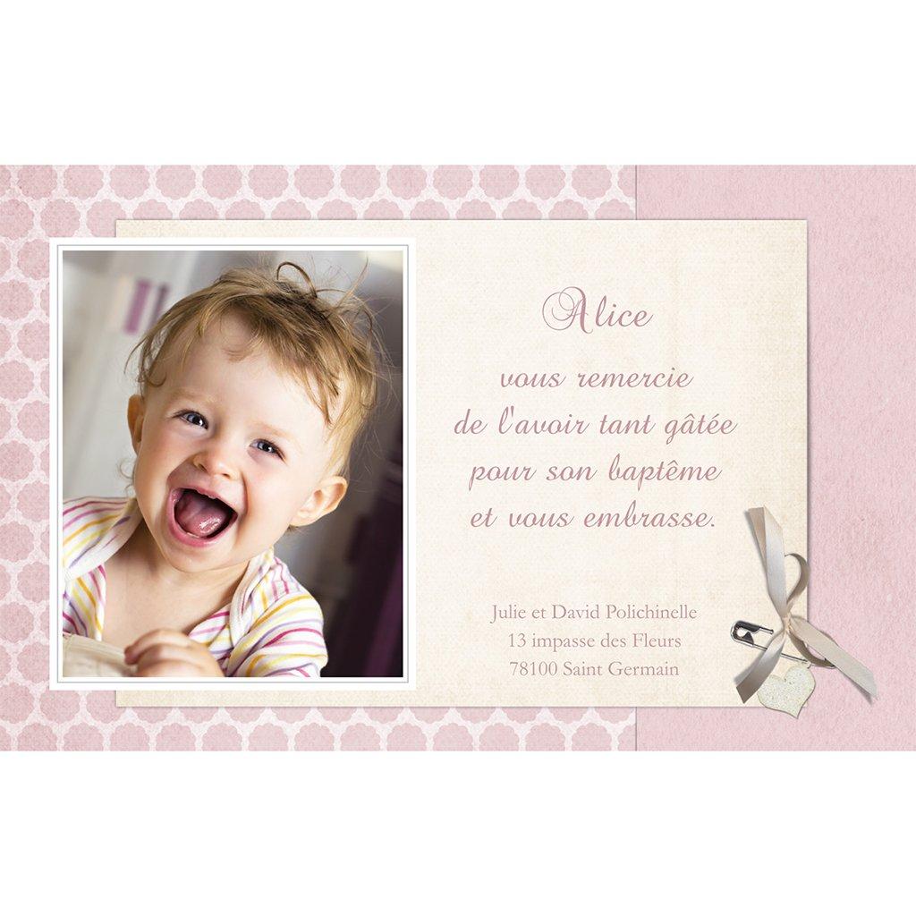 Carte de Remerciement Baptême Macaron Baptême rose pas cher
