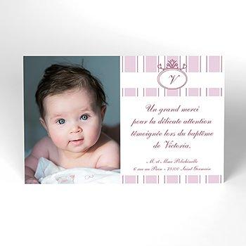Carte de Remerciement Baptême Ruban rose Baptême personnalisé