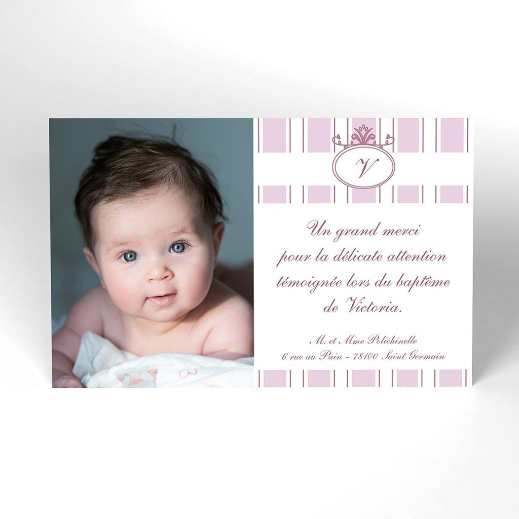 Carte de Remerciement Baptême Ruban rose Baptême
