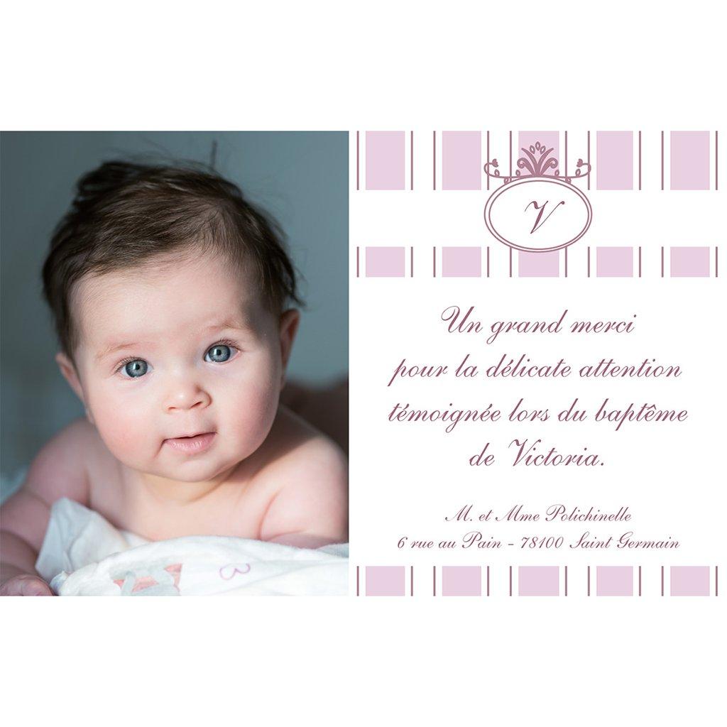 Carte de Remerciement Baptême Ruban rose Baptême pas cher