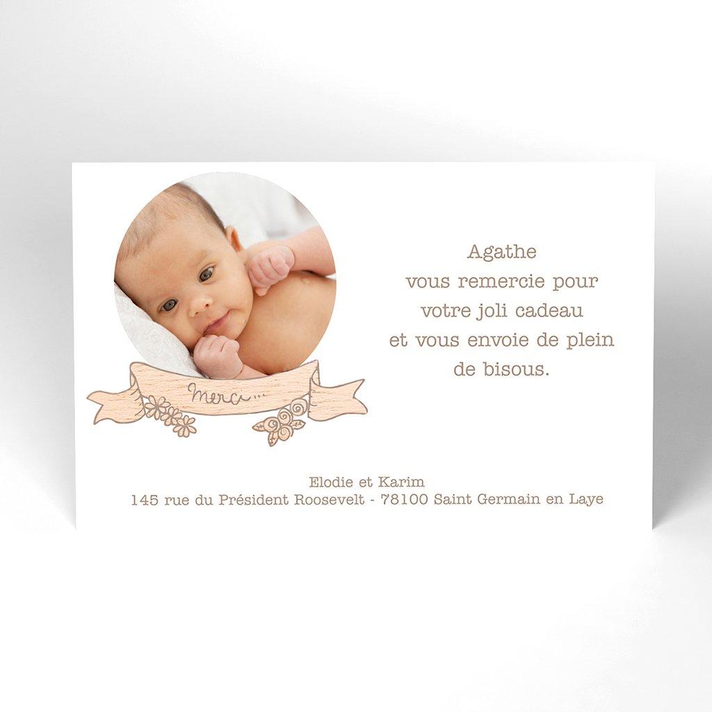 Carte de Remerciement Naissance Bois Joli