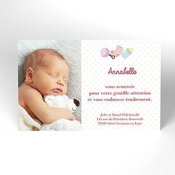 Carte de Remerciement Naissance Coeur Mignon personnalisé