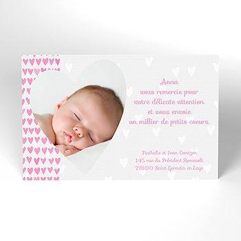 Carte de Remerciement Naissance Petits Coeurs