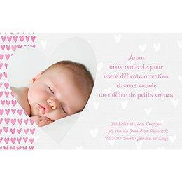 Carte de Remerciement Naissance Petits Coeurs pas cher