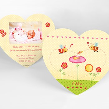 Faire-part de Naissance Honey rose original
