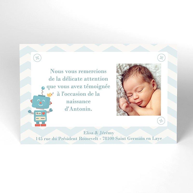 Carte de Remerciement Naissance Petit Robot