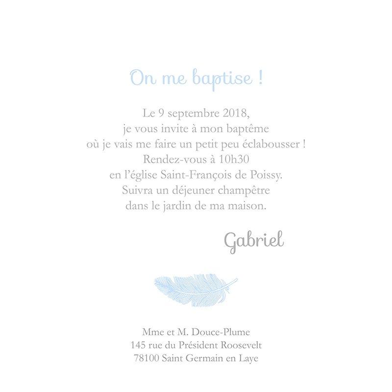 Faire-part de Baptême Douce Plume Baptême Bleu gratuit
