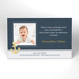 Carte de Remerciement Baptême Marin chic Baptême