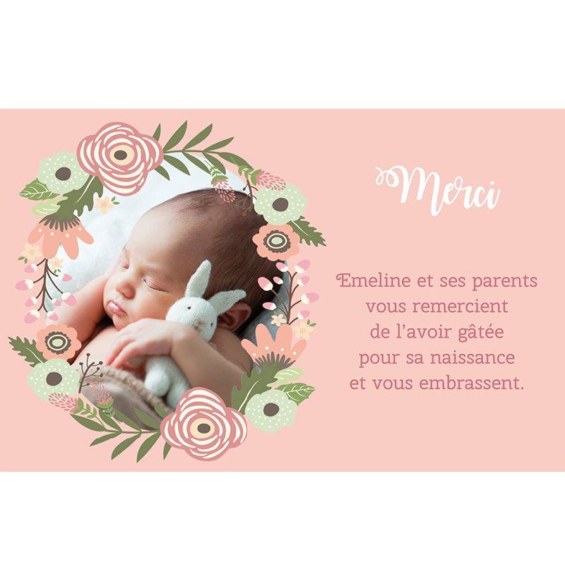 Carte de Remerciement Naissance Bohème Fille pas cher