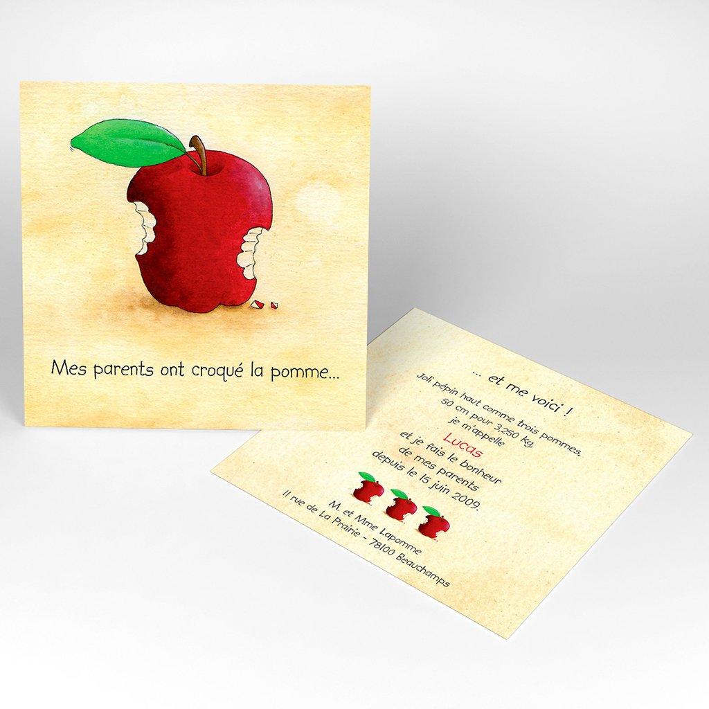 Faire-part de Naissance La Pomme sans photo