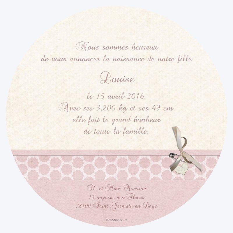 Faire-part de Naissance Macaron rose gratuit