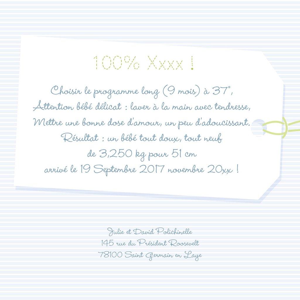 Faire-part de Naissance Joli Body bleu gratuit
