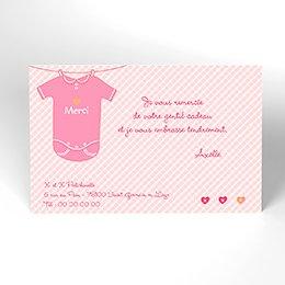 Carte de Remerciement Naissance Joli Body rose