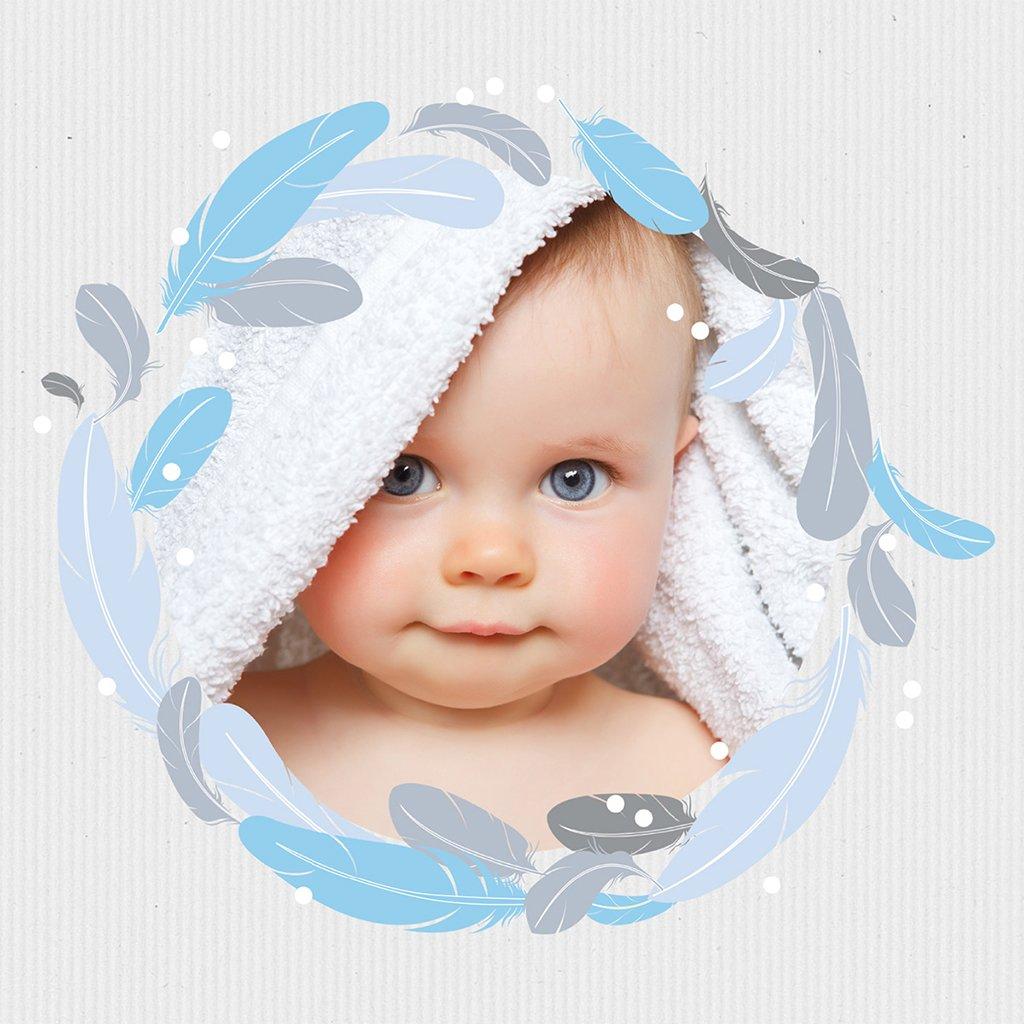 Faire-part de Baptême Plume Simple Baptême pas cher