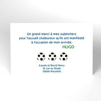 Carte de Remerciement Naissance Football