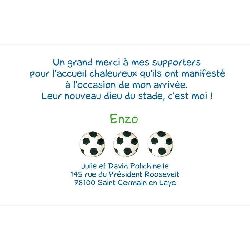 Carte de Remerciement Naissance Football pas cher