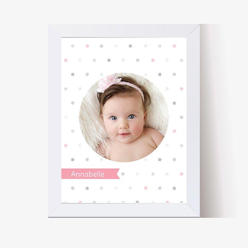 Affiche Déco Bébé Etoiles baptême Fille