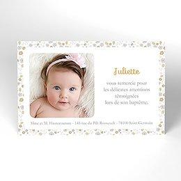 Carte de Remerciement Baptême Mademoiselle baptême rond