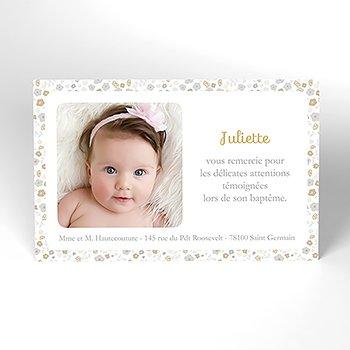 Carte de Remerciement Baptême Mademoiselle baptême rond pas cher