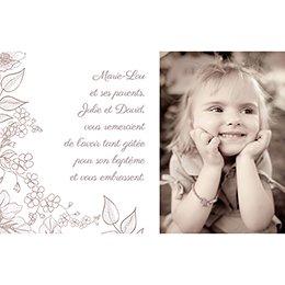 Carte de Remerciement Baptême Elégance Baptême pas cher