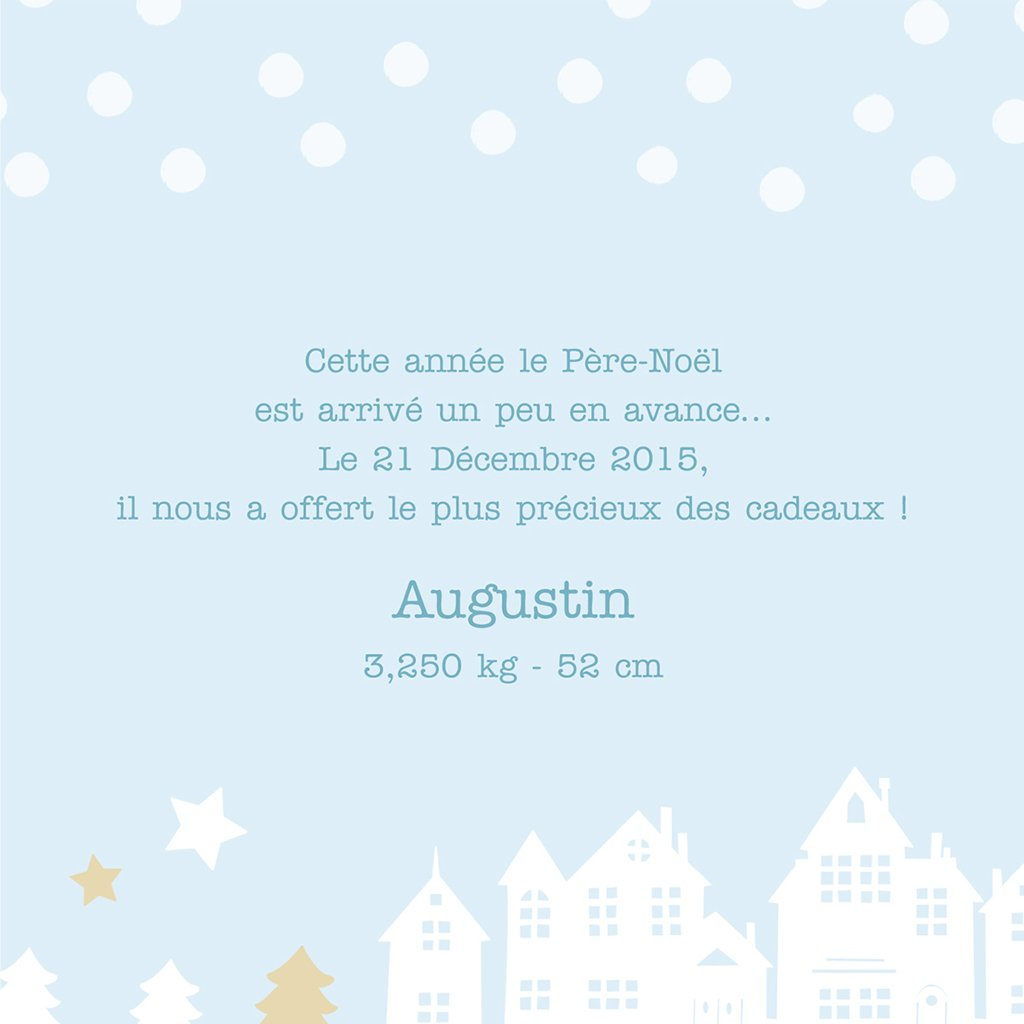 Faire-part de Naissance Village de Noël gratuit