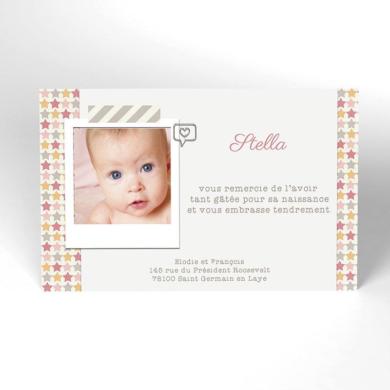 Carte de Remerciement Naissance Etoile Pastel Fille