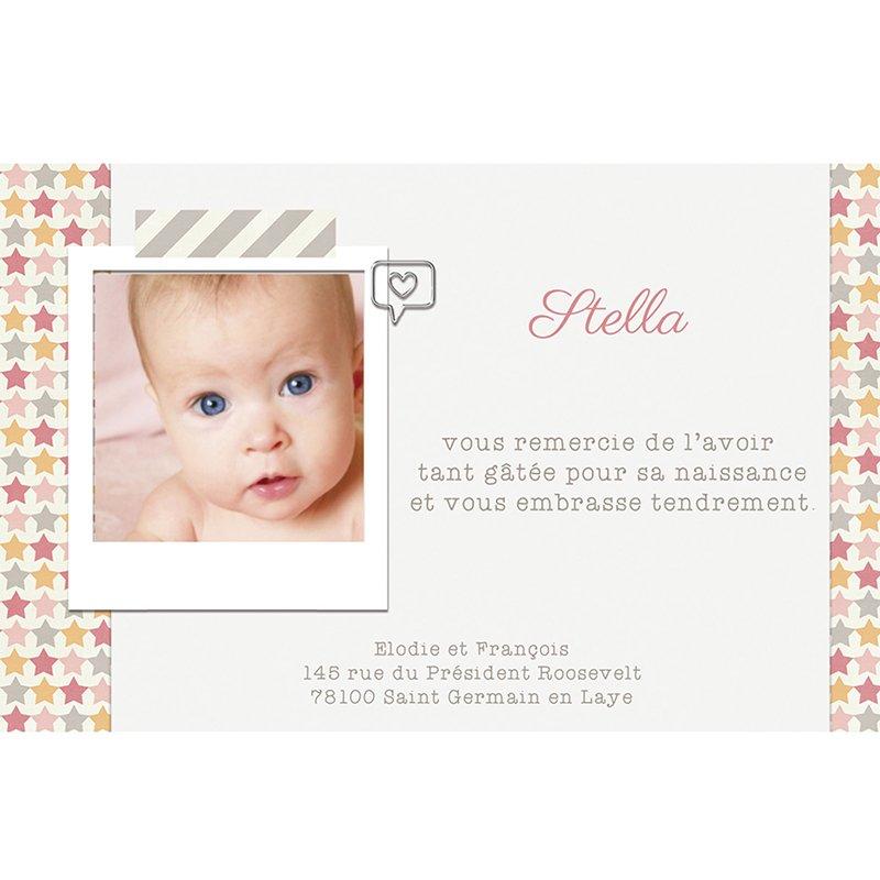 Carte de Remerciement Naissance Etoile Pastel Fille pas cher