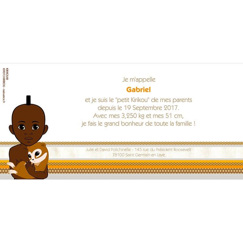 Faire-part de Naissance Kirikou 10 gratuit