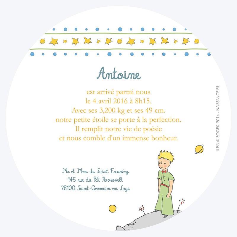 Faire-part de Naissance Le Petit Prince 18 gratuit