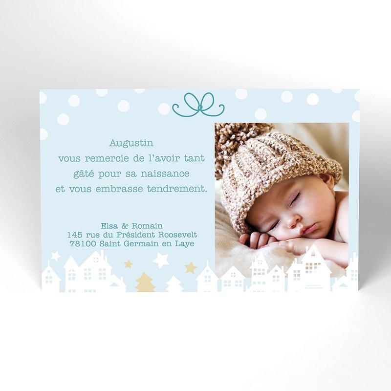 Carte de Remerciement Naissance Village de Noël