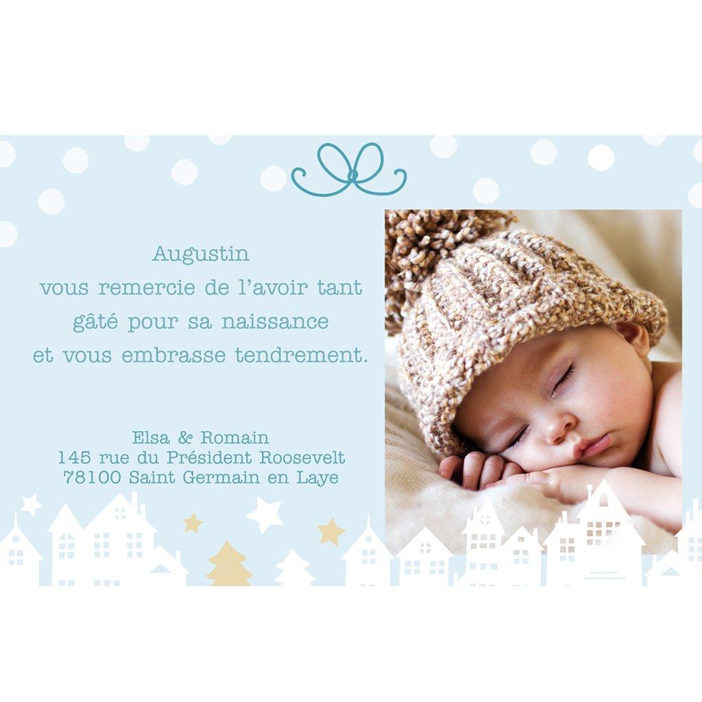 Carte de Remerciement Naissance Village de Noël pas cher