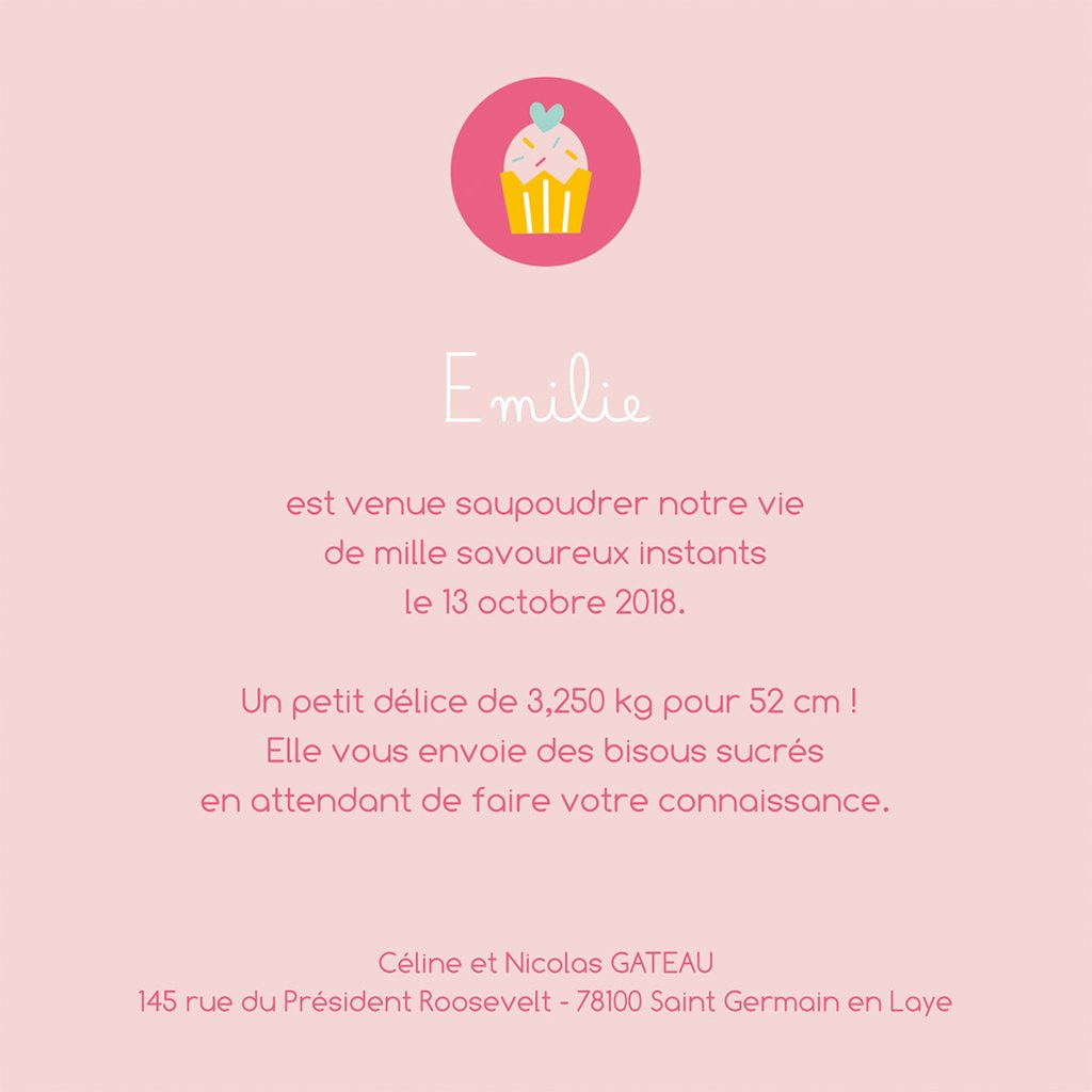Faire-part de Naissance Petits Gâteaux gratuit